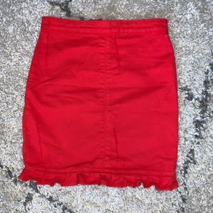 PrettyLittleThing Cherry Red denim skirt